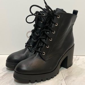New! BP Masson Black Heeled Lace Up Boots